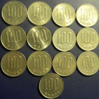 100 иен Япония (погодовка) 13шт