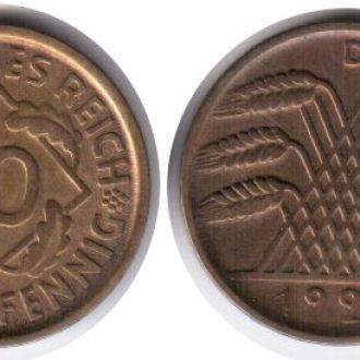 10 рейхспфеннингов 1925 D  Германия