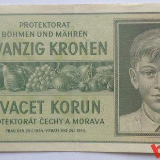 20 крон Протекторат Богемия - Моравия 1942 г