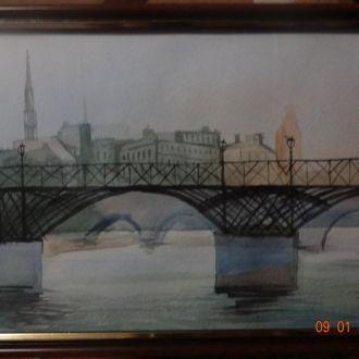 Картина Мост акварель20Х30в рамке