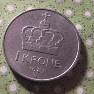 Норвегия монета 1 крона 1981 год !