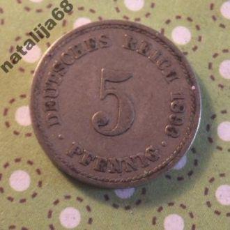 Германия 1893 год монета 5 пфенингов A !