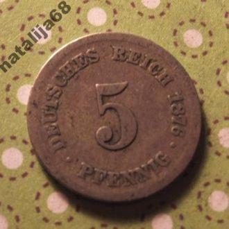 Германия 1876 год монета 5 пфенингов F !
