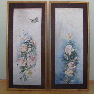 Пара старовинних картин , акварель , папір , Грінш