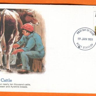 Фолклендские о-ва конверт первого дня корова фауна