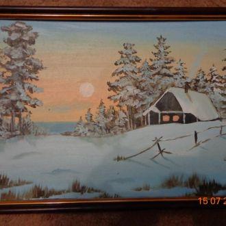 Картина Зима масло, картон в рамке
