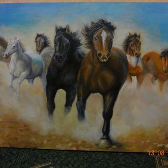 Картина Лошади 85х60 масло,холст.