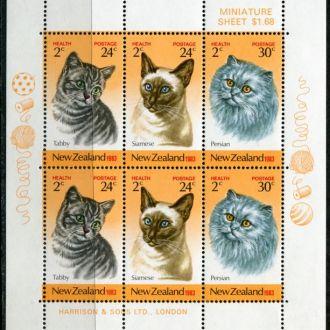 Новая Зеландия Фауна Породистые кошки Блок MNH