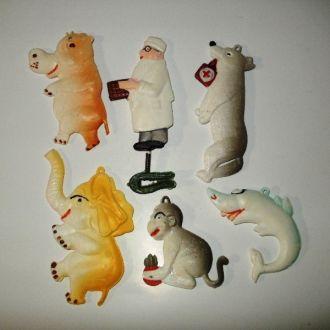Елочные игрушки Доктор Айболит и звери СССР пластм