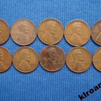 США Погодовка 1 цент 1926 -1945 Пшеничный цент 10ш