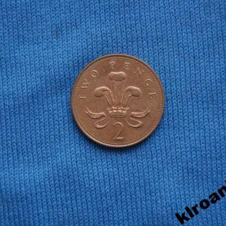 Великобритания 2 пенса 1999 г  ЛЮКС