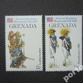 2 марки Гренада 1976 военная форма революц США MNH