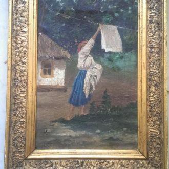 Картина хатки импрессионизм золоченая рамка AЕ цар
