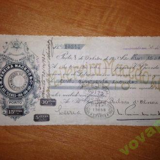 Банковский чек 1925г.(BANCO de PORTUGAL)