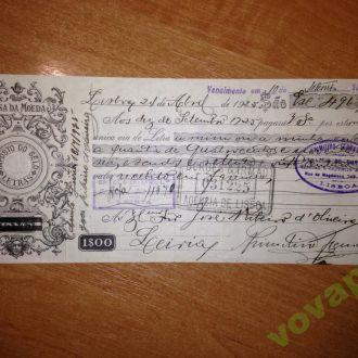 Банковский чек 1925г.Португалия,Лиссабон