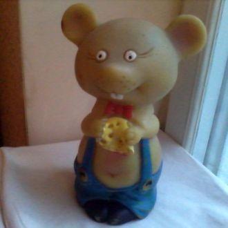 Кукла СССР игрушка резиновая Мышь с сыром 20 см