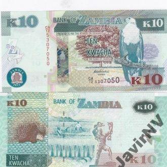 Zambia Замбия - 10 Kwacha 2012 UNC Javir