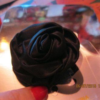 роза заколка цветок черный резинка  ШИКАРНО ЦВЕТОК