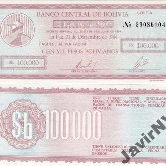 Bolivia Боливия 100000 Pesos 1984 чек P. 188 UNC