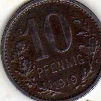 Германия 10 пф 1919