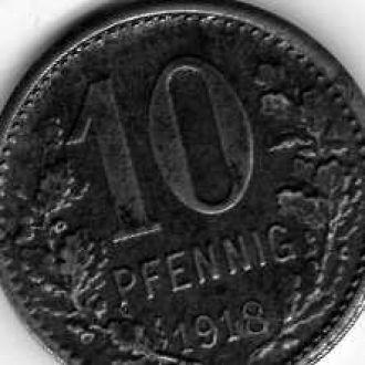 Германия 10 пф 1918
