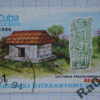 Марка почта Куба 1986 Майя Типовое жилье, статуя