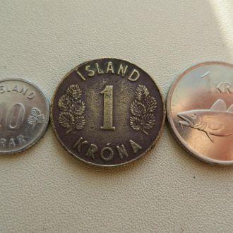 Набор Исландия 3 монеты.