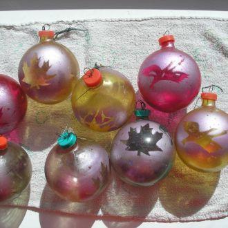 Елочные игрушки СССР 8 шт Шары толстое стекло