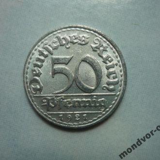 Германия 50 пфеннигов 1921D флора состояние