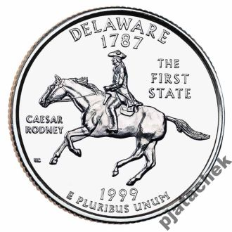 25 центов США Delaware Делавэр 1999 г.