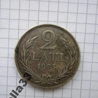 2 лата 1925 год Латвия серебро