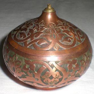 Старинная шкатулка  казан горшок медь