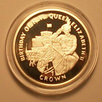 1 крона 1997г. Гибралтар. 28.28 г Ag 925 пр. ПРУФ.