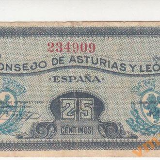 Испания Астурия и Леон 25 сентимос 1936 год