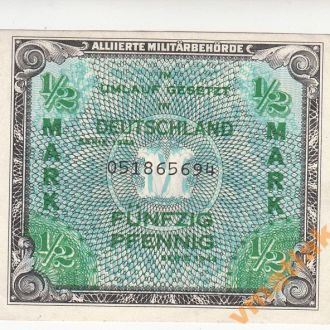 Германия пол марки 1944 г зона Великобритании аUNC