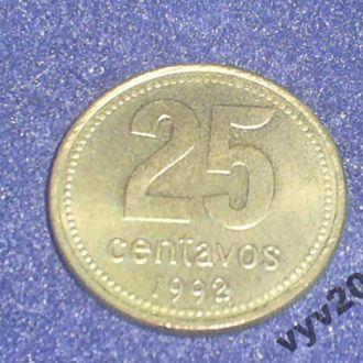 Аргентина-1992 г.-25 сентаво