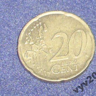 Италия-2002 г.-20 центов