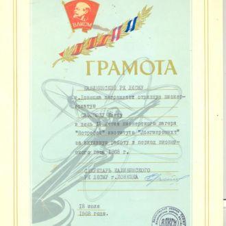 Док Пионеры Пионерлагерь ЯСТРЕБОК Грамота ПВ 1968.