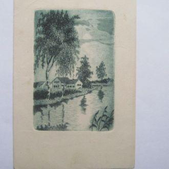 Гравюра    на   открытке   Чехия