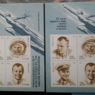 маркиСССР,1991,30 полетаГагарина,2 блока с надпеч