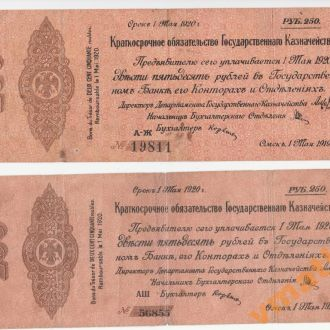 КОЛЧАК 250 руб 1919 г МАЙ 2 разнов серии АШ и А-Ж