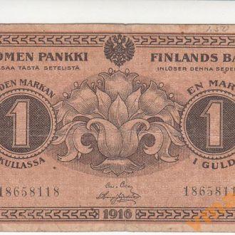 ФИНЛЯНДИЯ 1 марка 1916 год выпуск Сената 1917 год