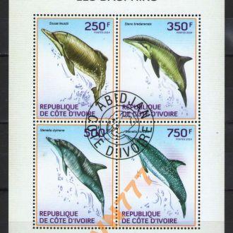 Кот-д Ивуар 2014 Дельфины блок лист