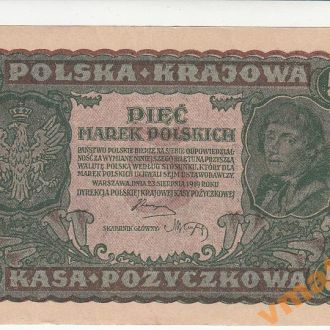 Польша 5 марок 1919 год СОСТОЯНИЕ