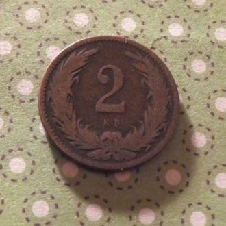 Венгрия 1896 год монета 2 филлера !