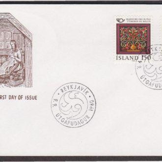 Исландия 1980 ИСКУССТВО ХУДОЖЕСТВЕННАЯ РОСПИСЬ КРУЖЕВА ТРАДИЦИИ ОБЫЧАИ КУЛЬТУРА КПД Mi.556-557