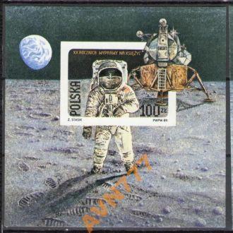 Польша 1989 космос разновид блок бз  MNH