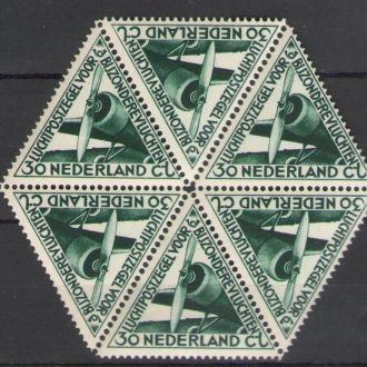 Нидерланды 1933 ** Авиация Самолеты Авиапочта 6м гексагон MNH