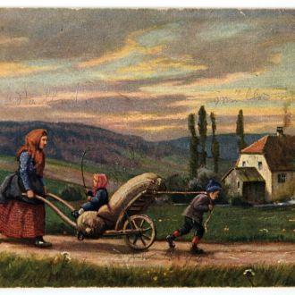 Открытка  На мельницу 1923 г. W. Burger Германия