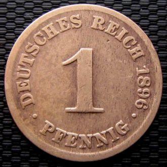 Германия 1 пфенниг (PFENNIG) 1896 год (A) Редкая!